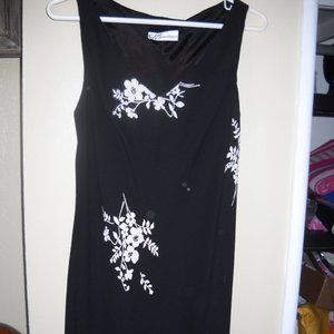 Black dress w/ white floral design